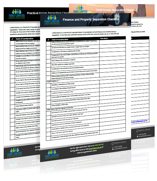 Finance and Property Checklists
